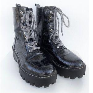 Zara Black Faux Snakeskin Platform Moto Boots